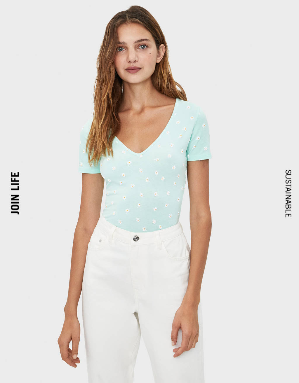 Camiseta elástica colo pico