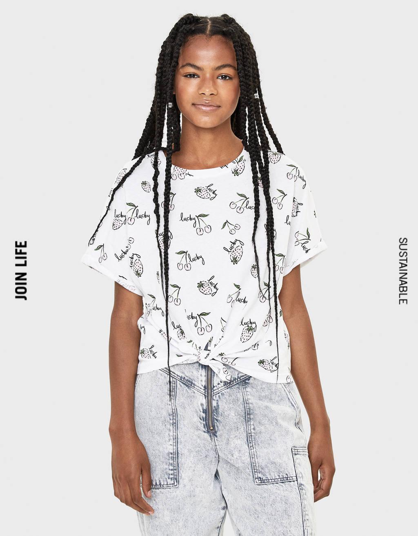 Shirt mit Zierknoten am Vorderteil