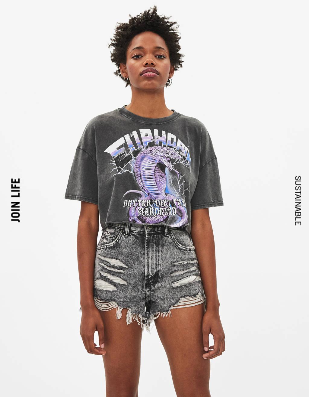 Camiseta con estampado texto