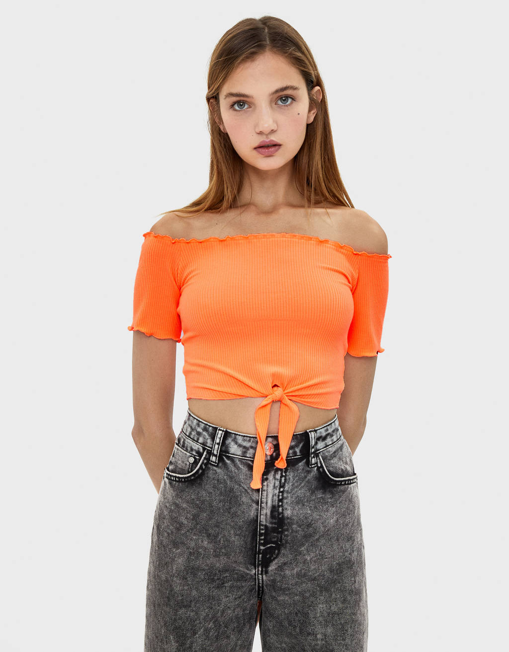 Off-the-shoulder cropped T-shirt