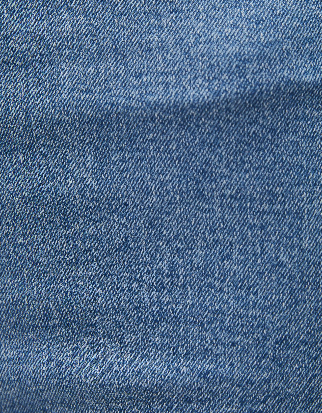 Джинсовые шорты с высокой талией и отворотами Синий застиранный Bershka