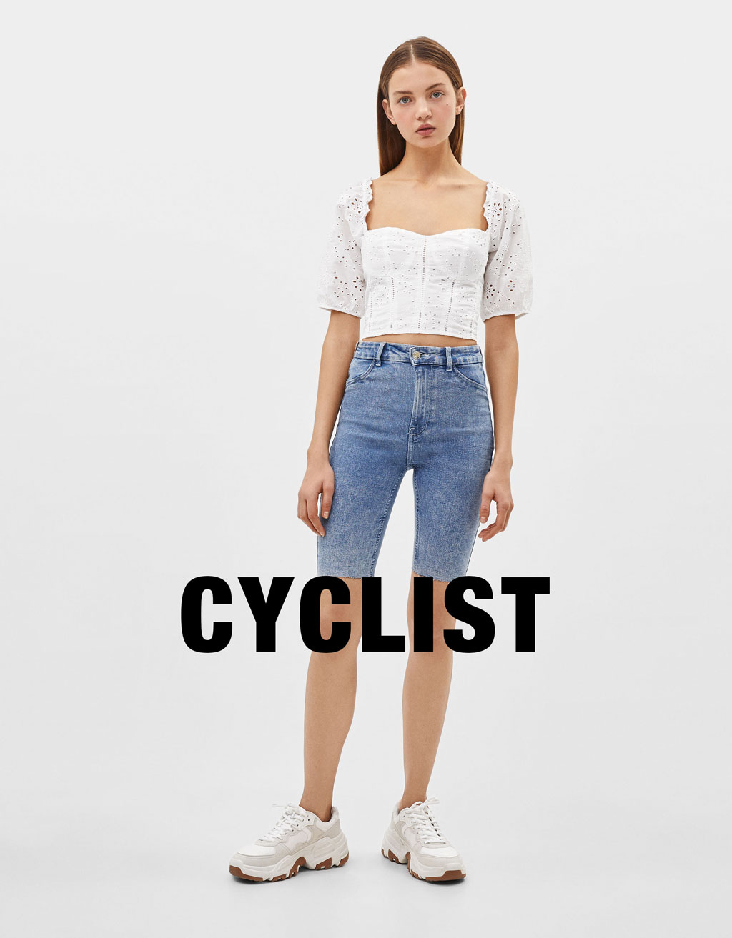 Pantaloni tip cycling denim