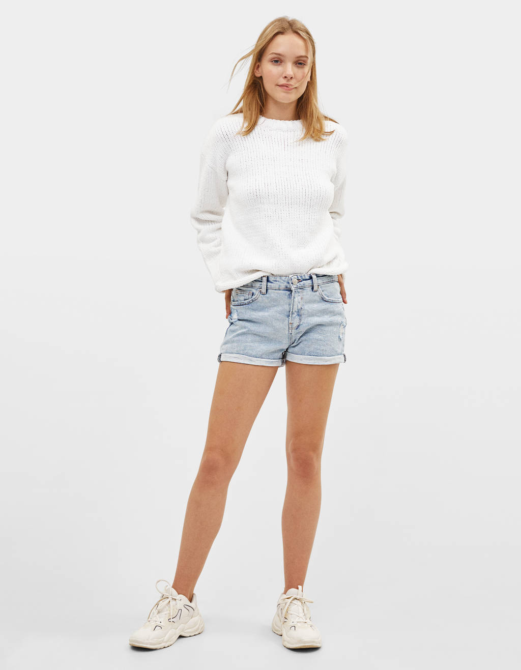 Denim shorts with rolled-up hems