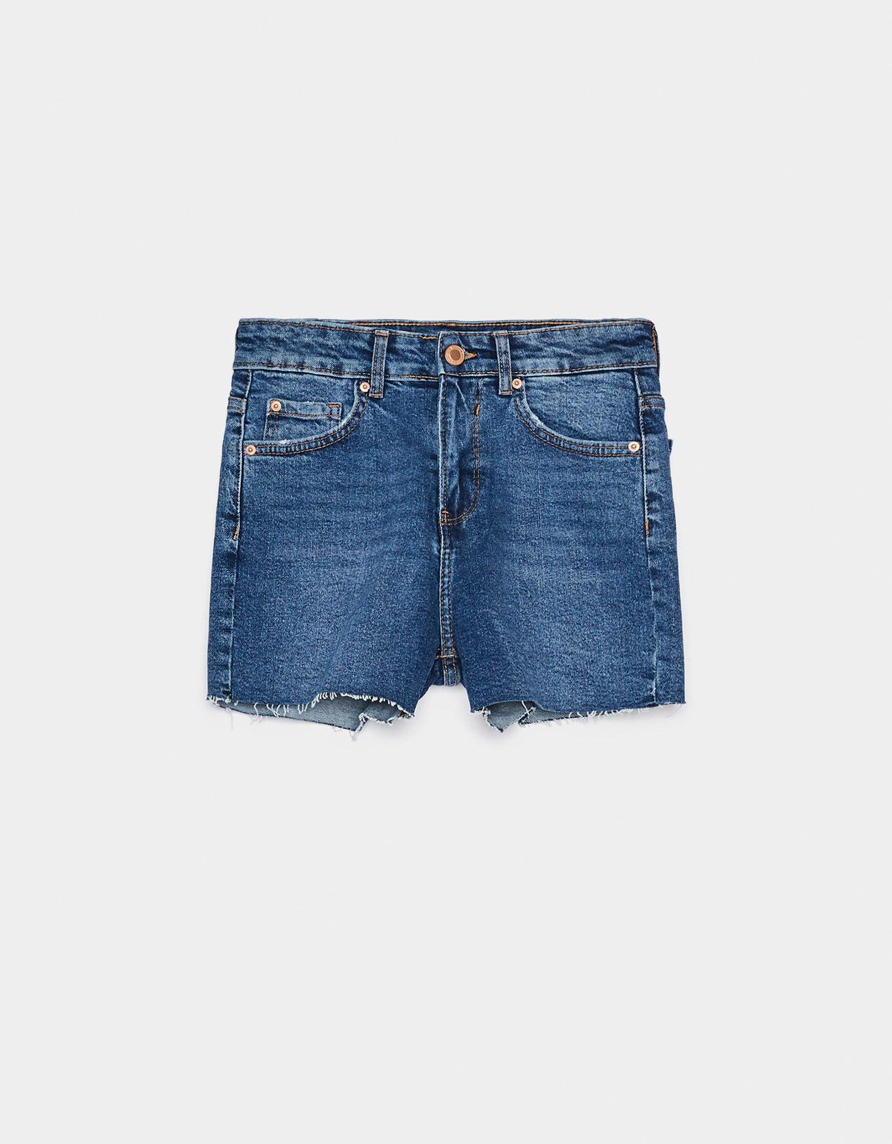 Базовые джинсовые шорты СИНИЙ Bershka