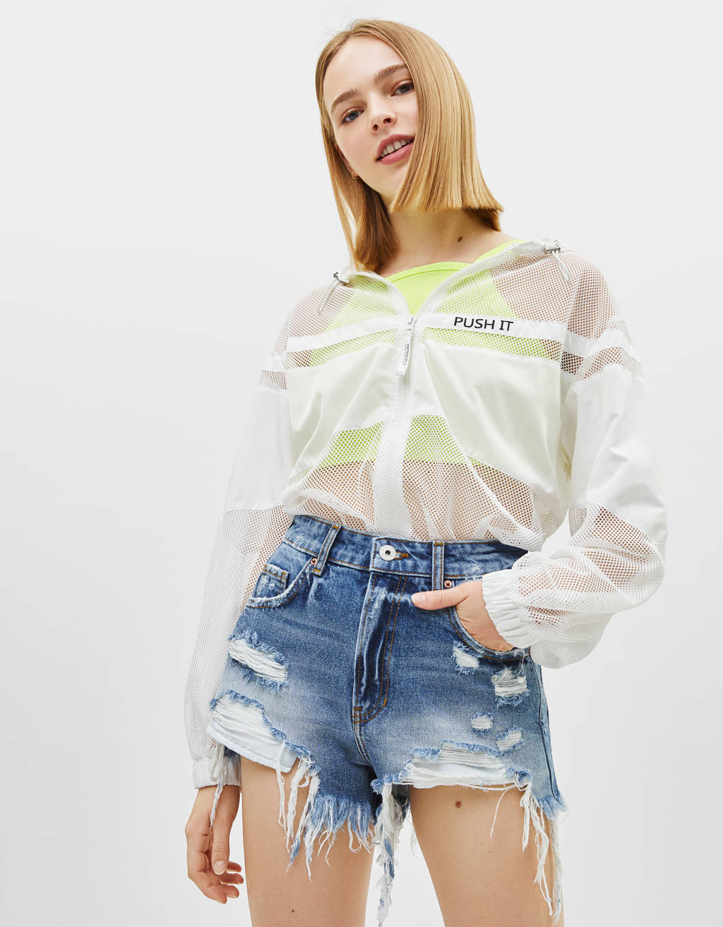 Distressed-effect denim shorts