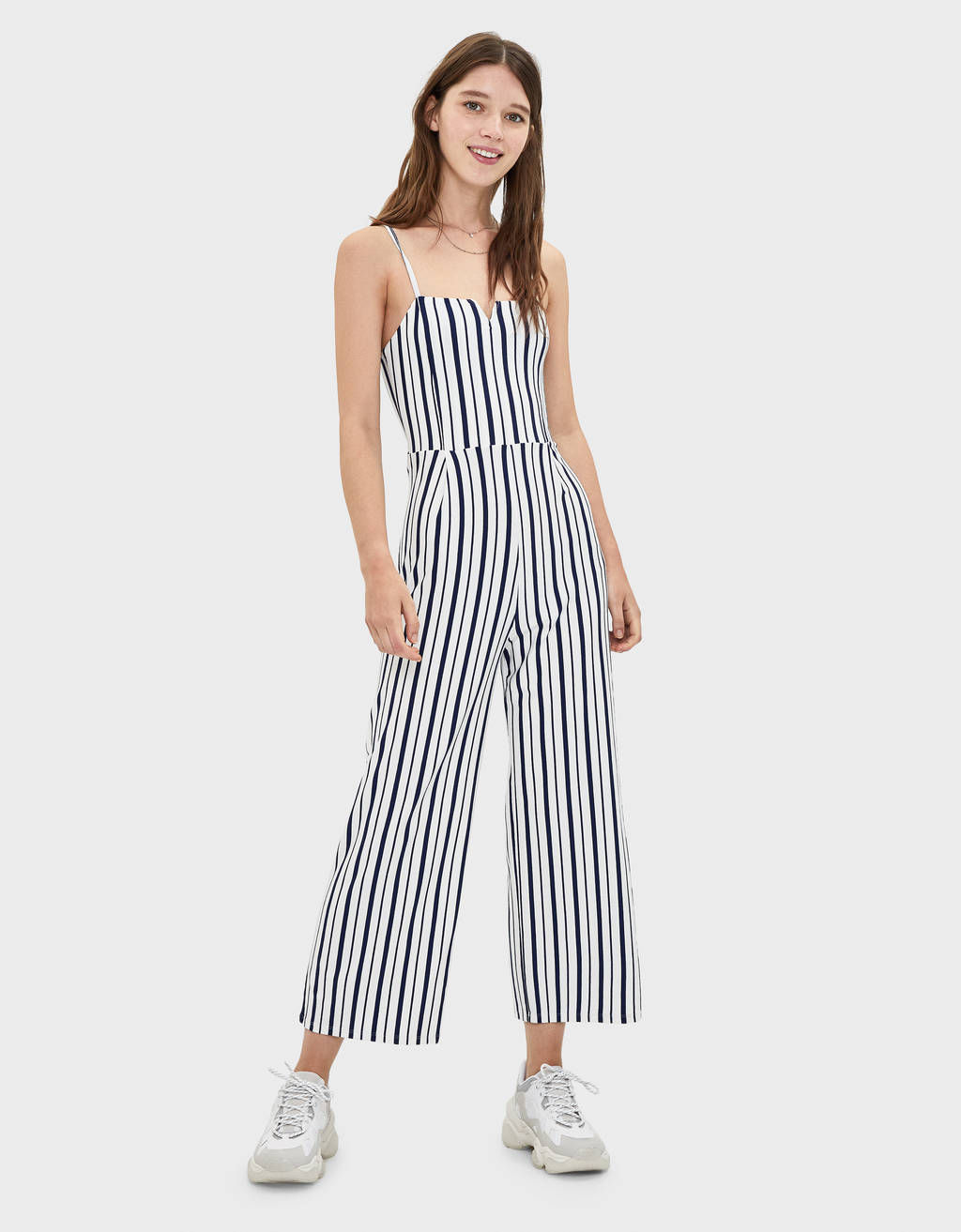 Long jumpsuit with square-cut neckline