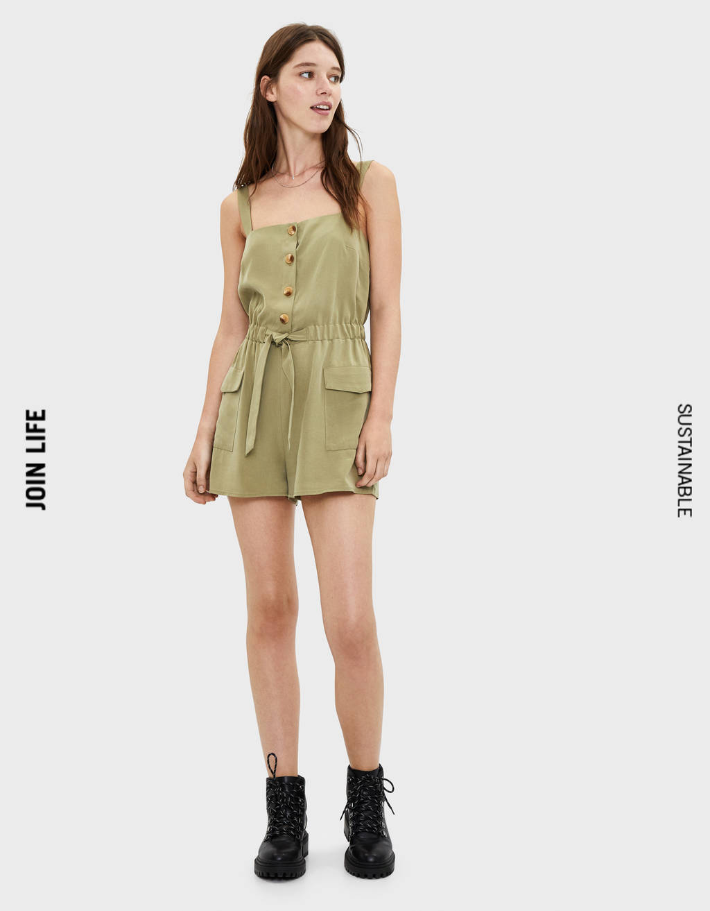 TENCEL® playsuit with tie detail