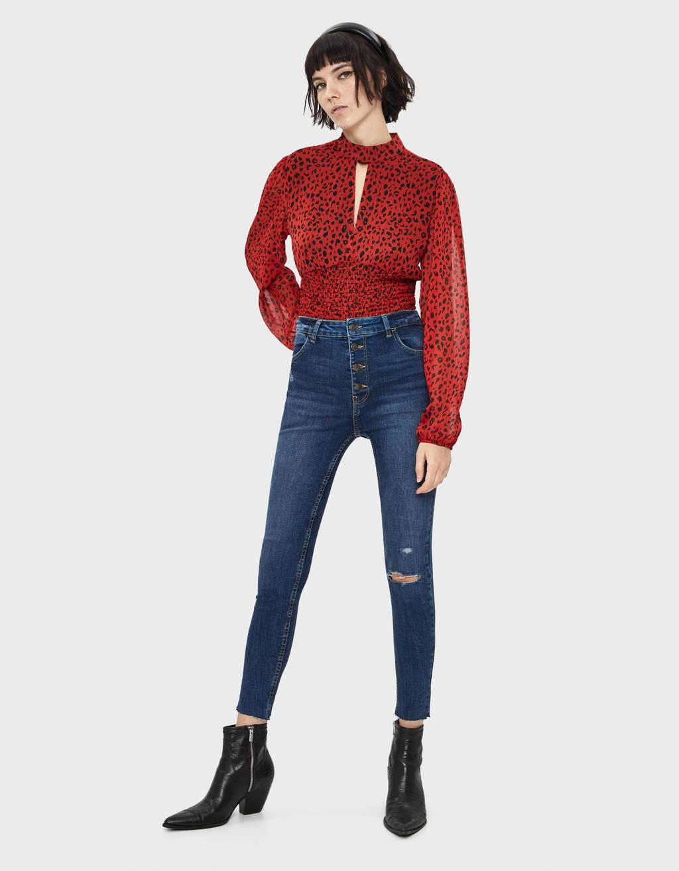 High waist button-front jeans