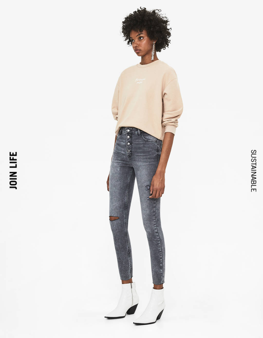 High waist button-front jeans