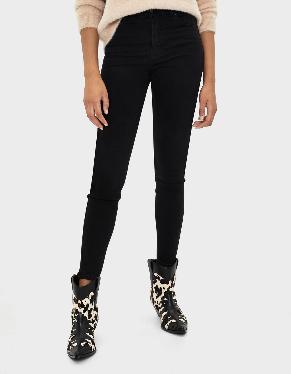 Warm high-waist skinny jeans