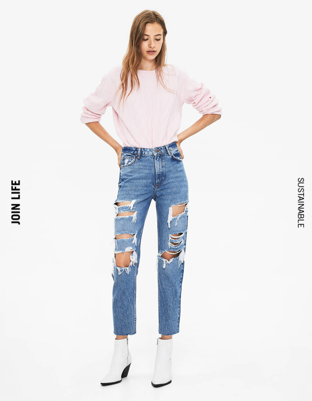 Mom fit jeans met scheuren