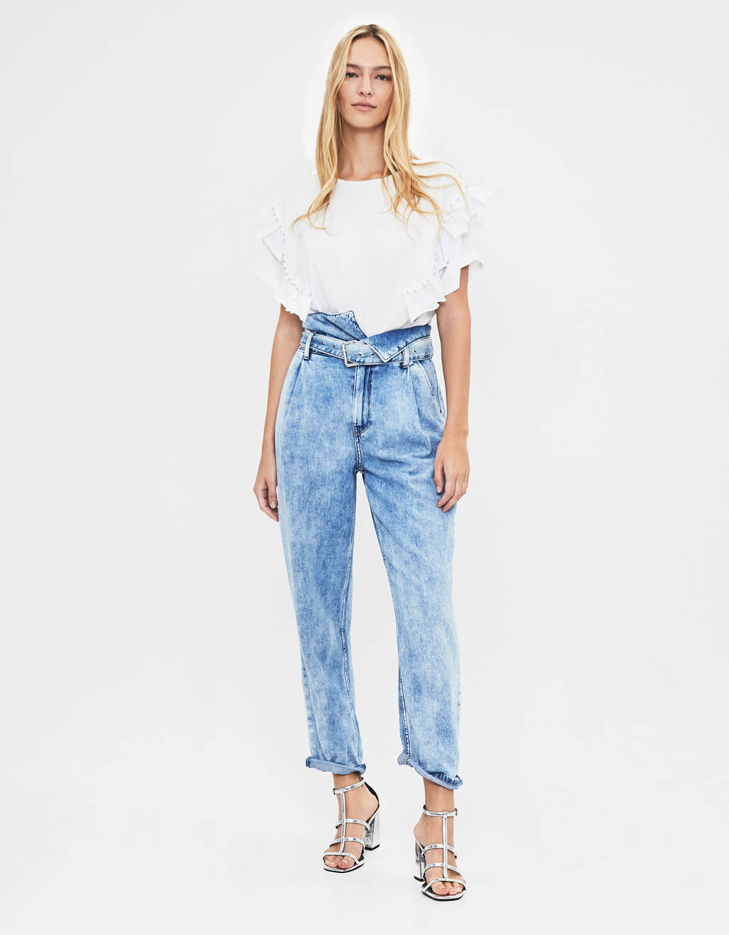 Jeans Mom Fit med skärp