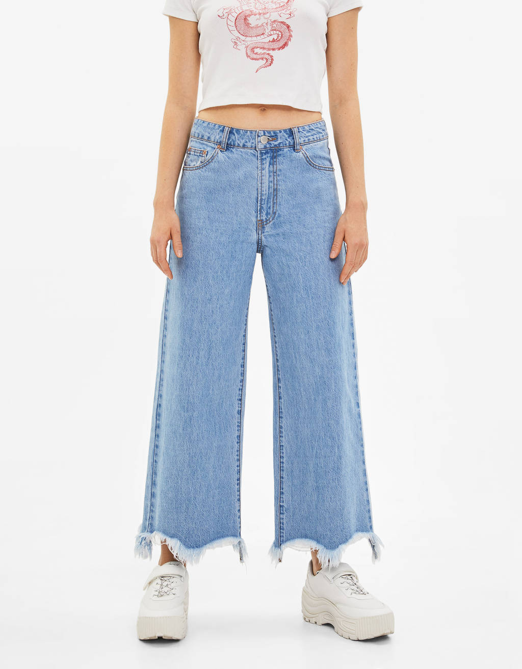 High-waist denim culottes