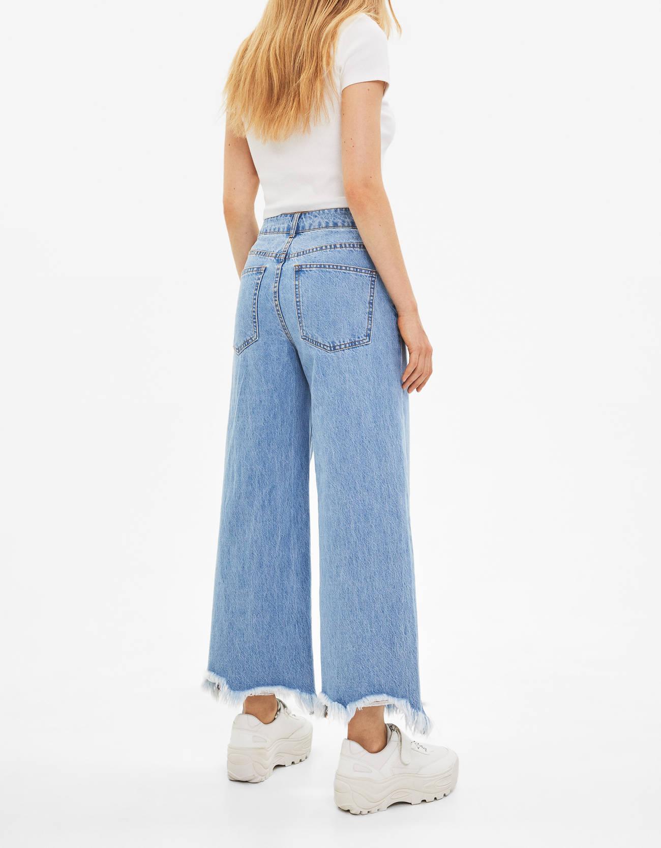 Джинсовые брюки-кюлоты с высокой посадкой Синий застиранный Bershka