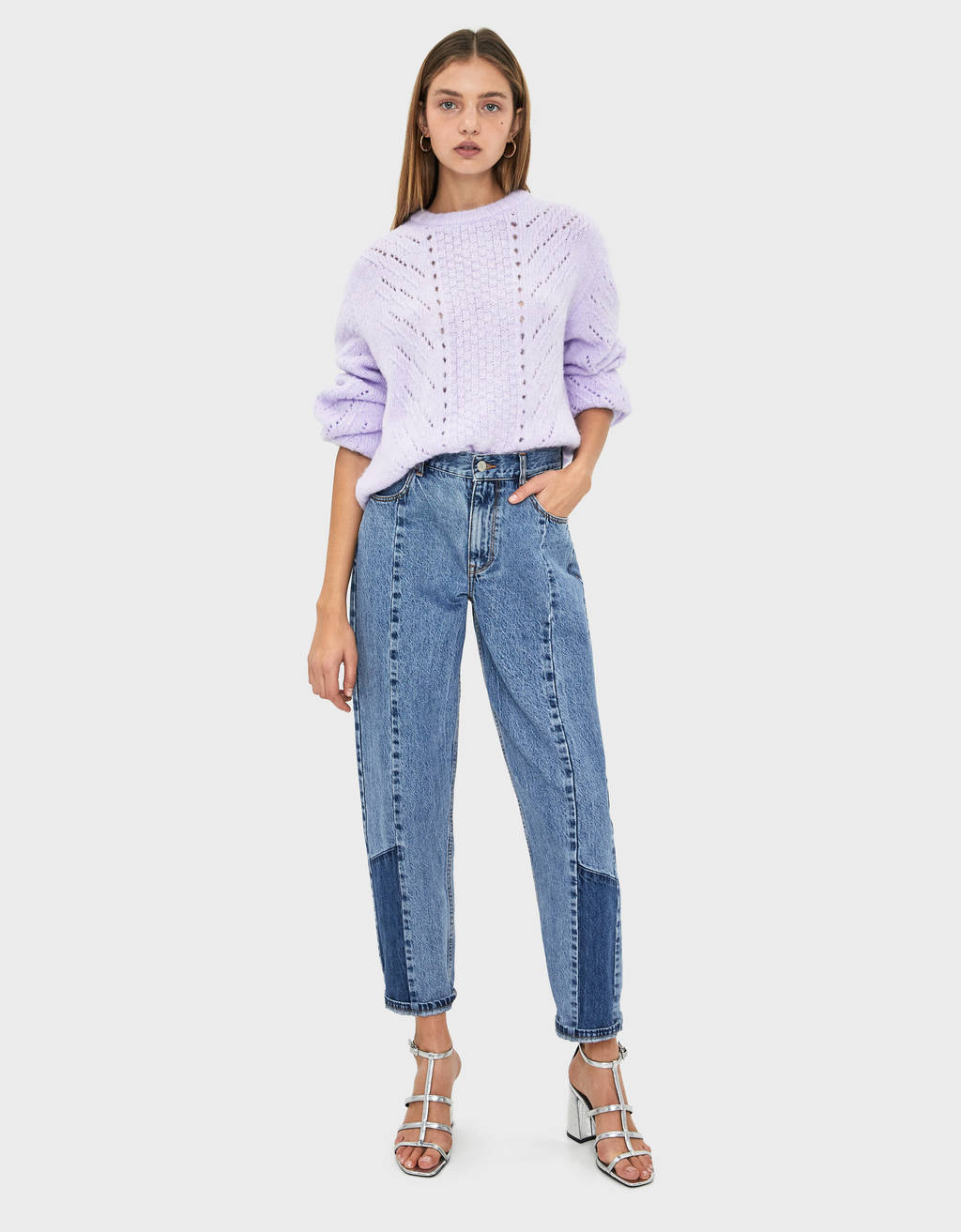 Contrast balloon fit jeans