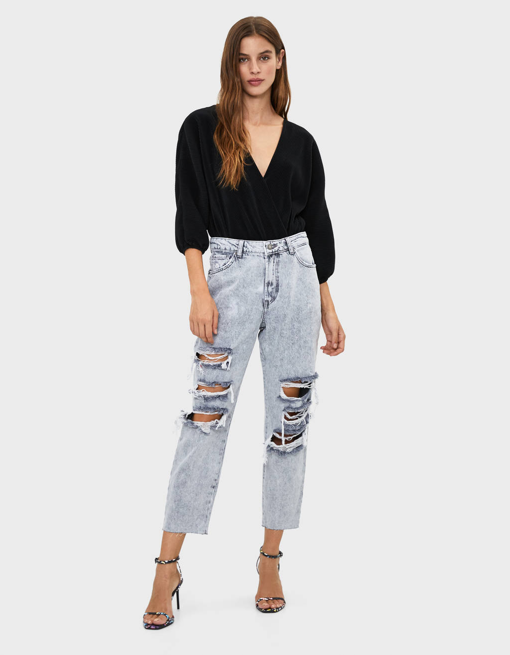 Jeans mom fit déchiré
