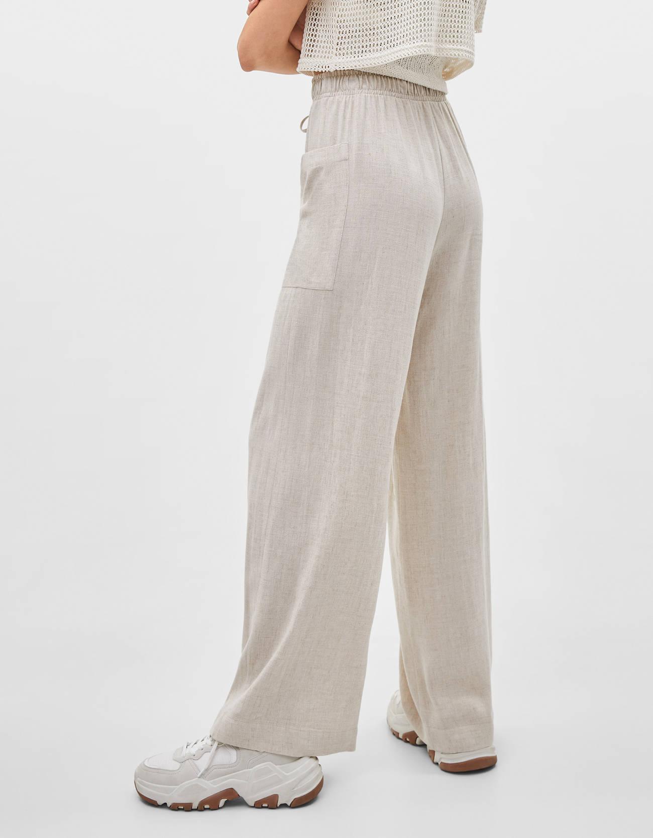 Льняные брюки с широкими штанинами Бежевый Bershka