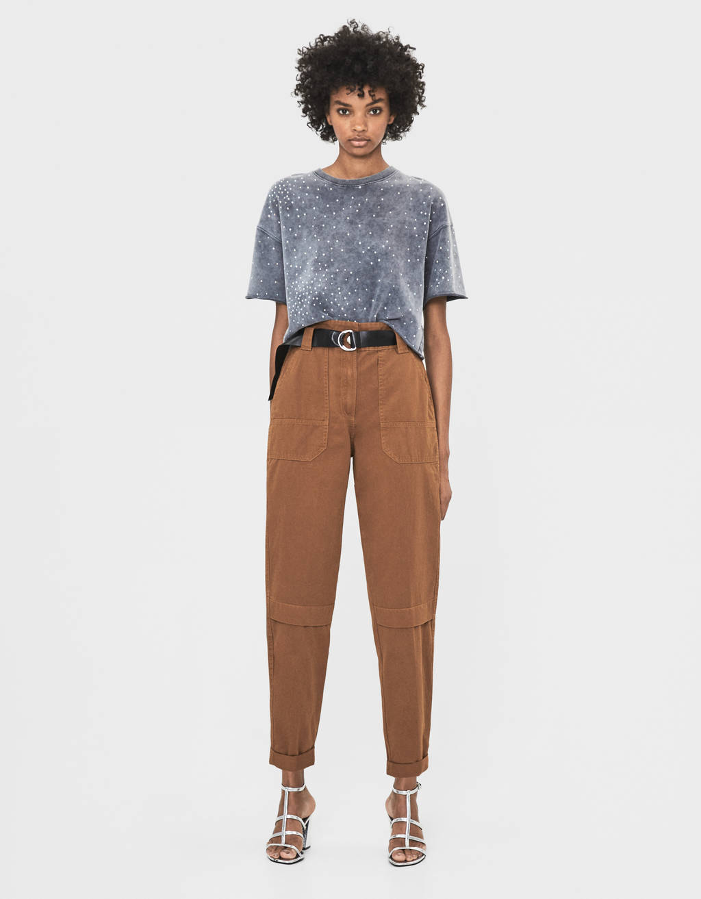 Belted paperbag trousers