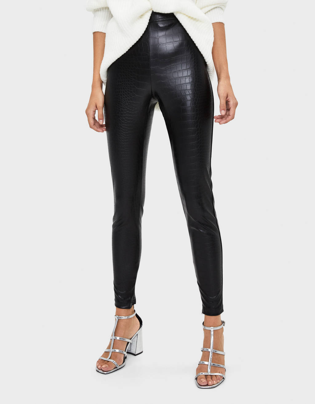 Mock croc faux leather leggings
