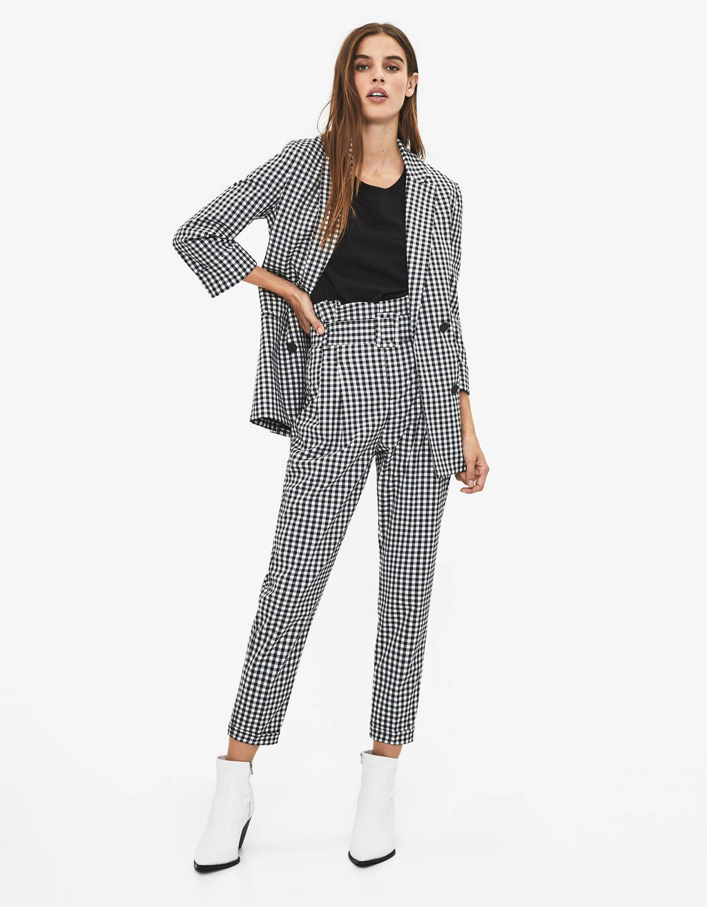 Gingham paperbag trousers
