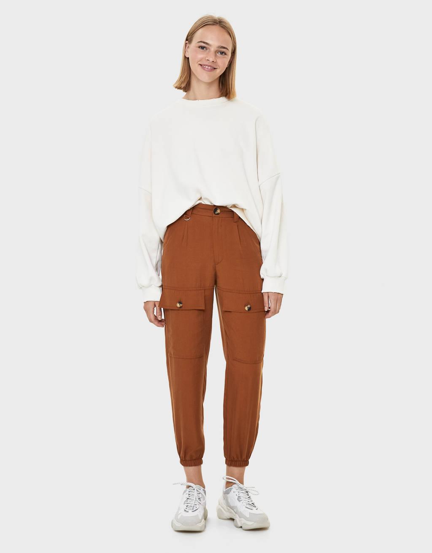 Pantalon cargo en rayonne de cellulose