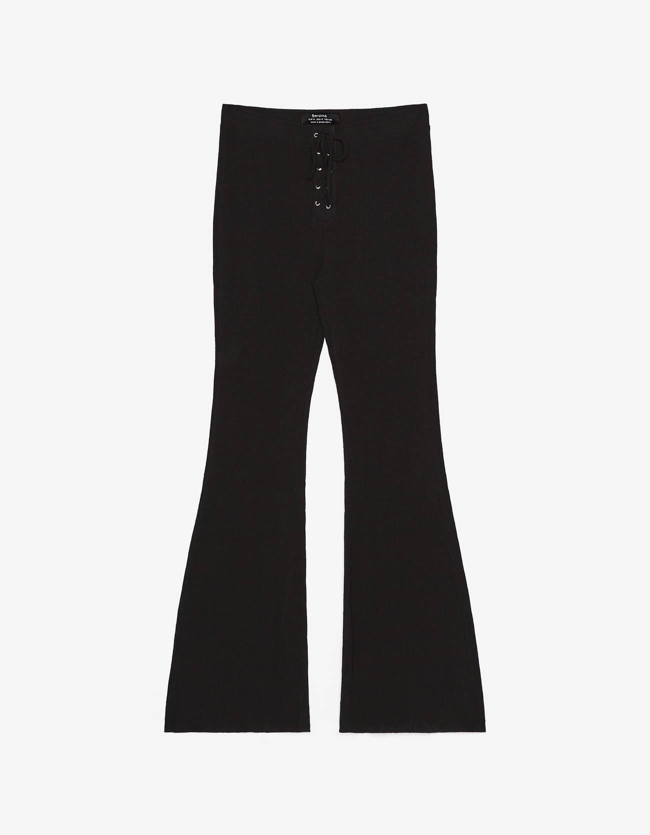 Расклешенные брюки со шнуровкой ЧЕРНЫЙ Bershka