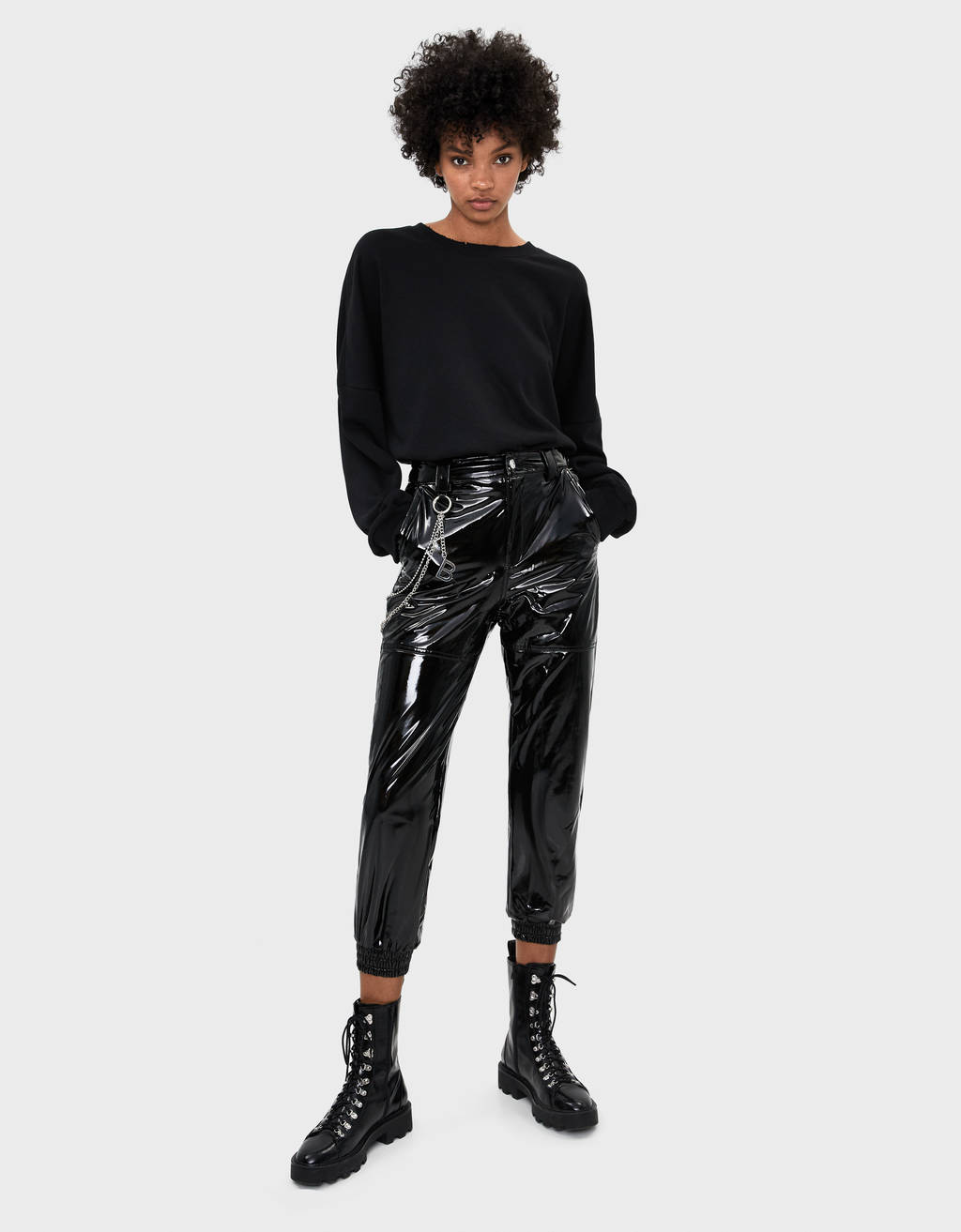 Vinyl jogging trousers