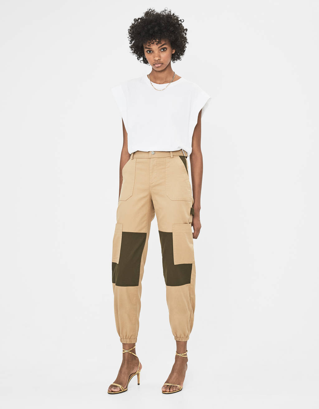 Colour block cargo trousers