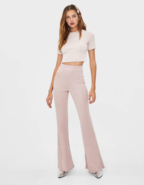 Flared metallic thread trousers