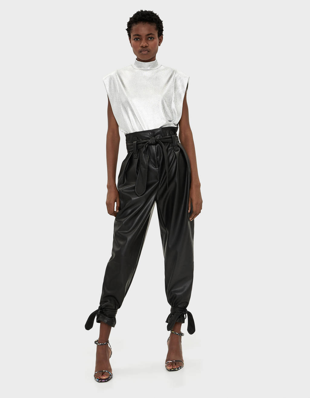 Faux leather joggers with ties