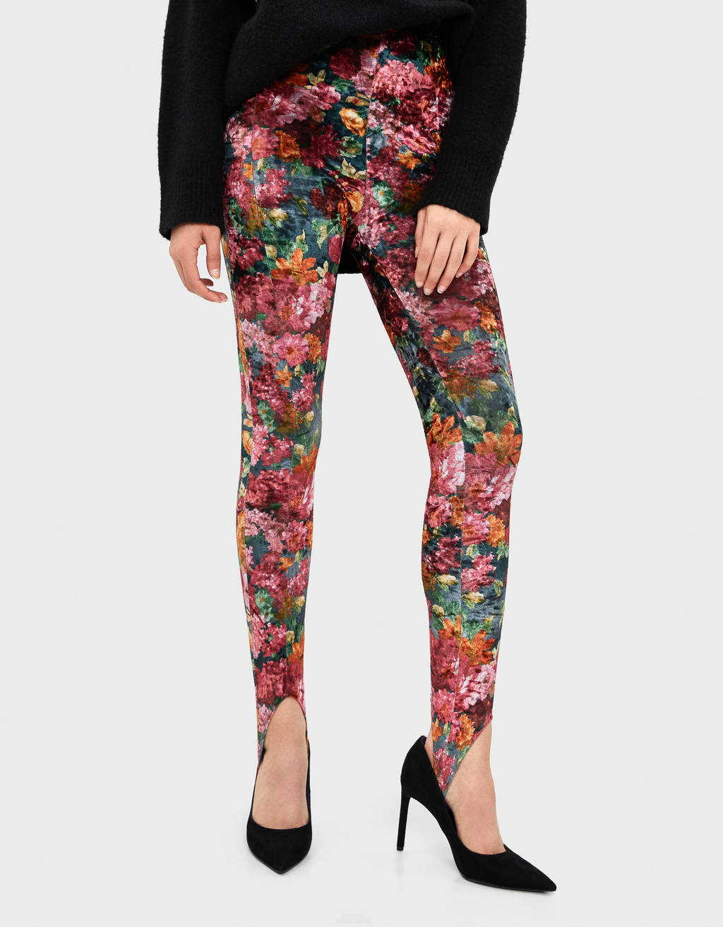 Leggings in velluto con stampa floreale