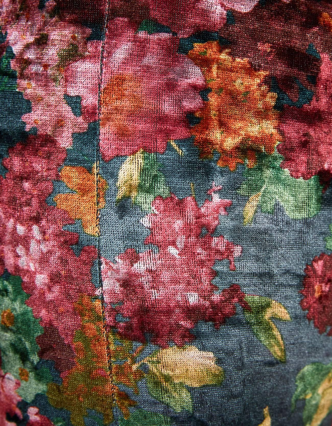Легинсы из бархата с цветочным принтом Гранатовый Bershka