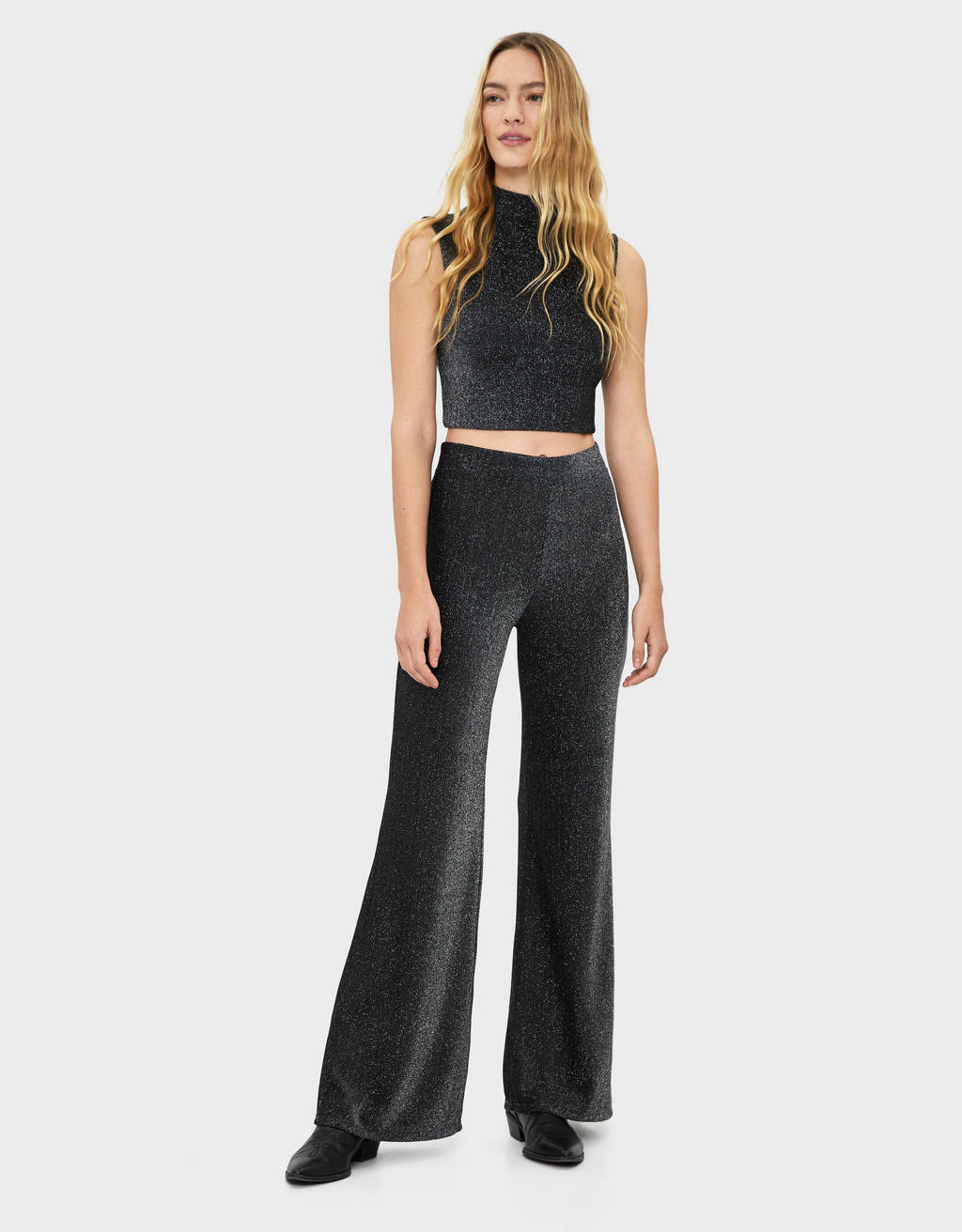 Flared metallic thread trousers