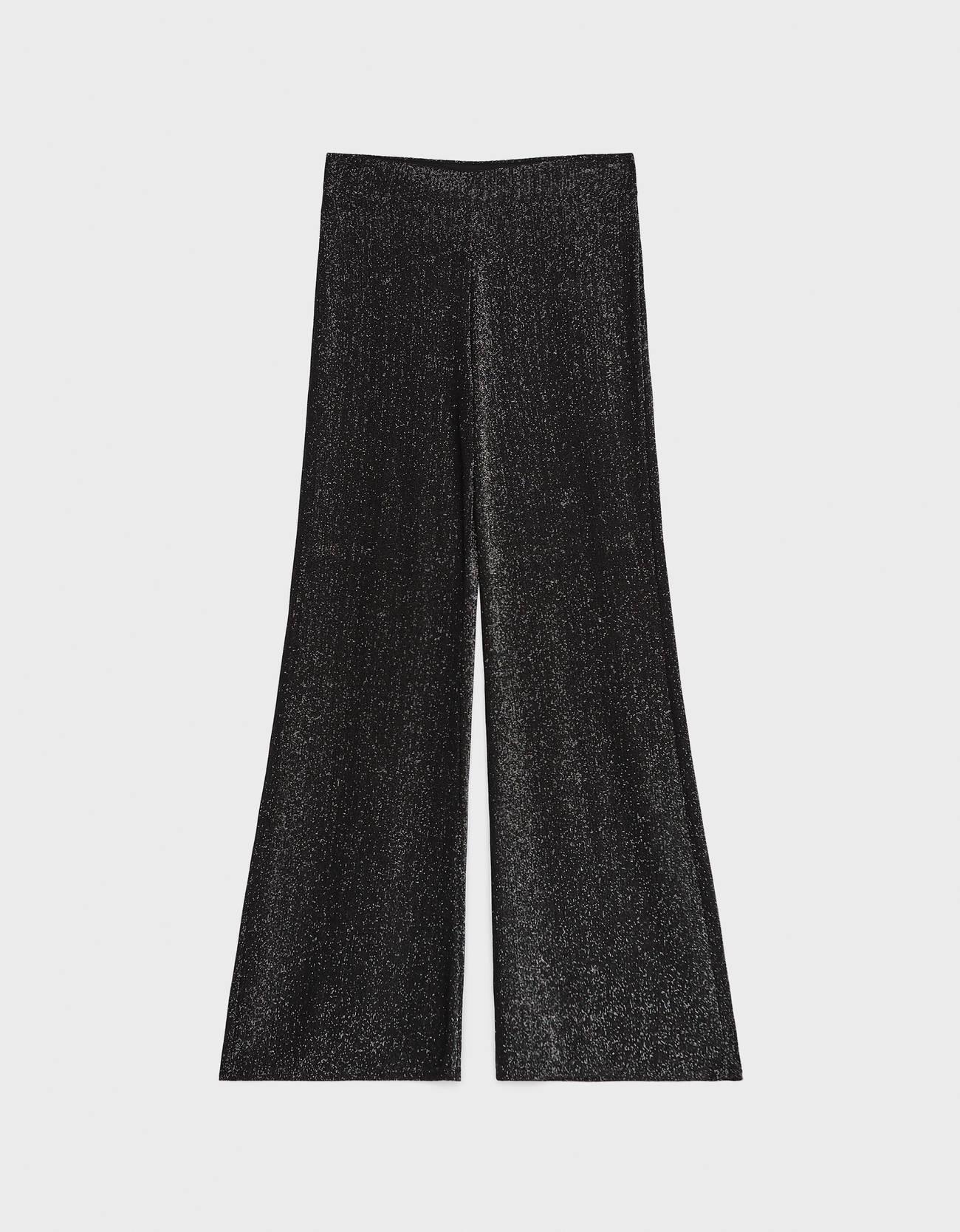Расклешенные брюки с металлизированной нитью Серебряный Bershka