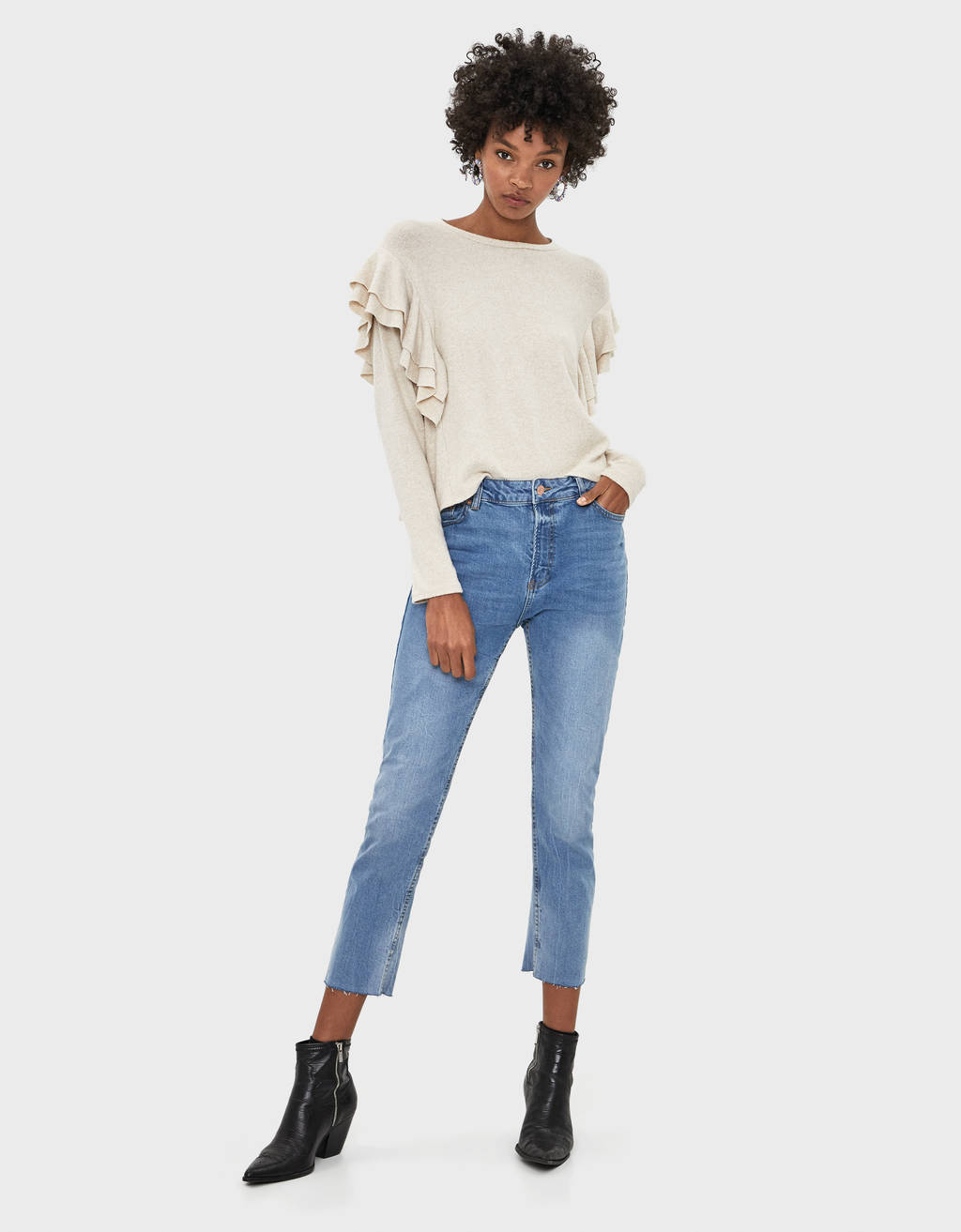Slim fit crop paça jean