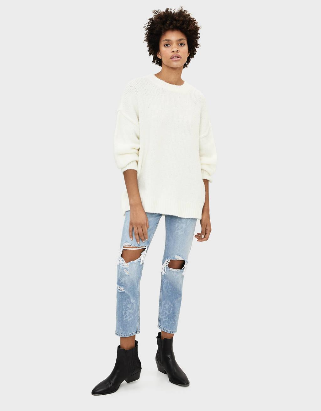 Boyfriend-Jeans mit Laser-Print