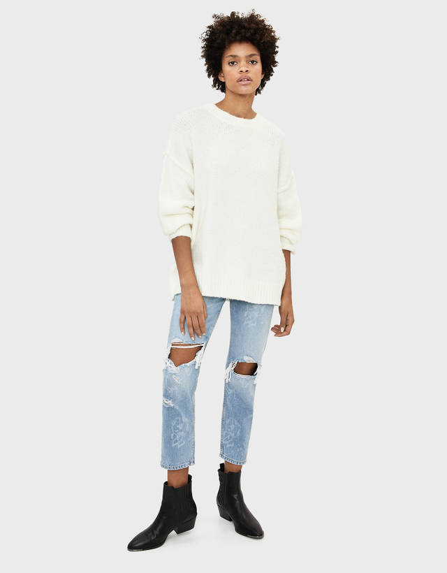 Ripped Boyfriend Jeans by Bershka