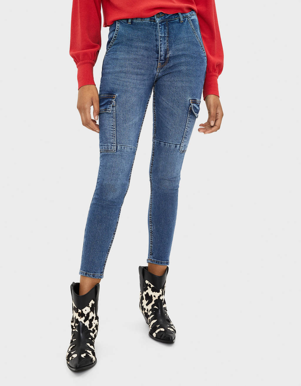 Jeans cargo coupe skinny