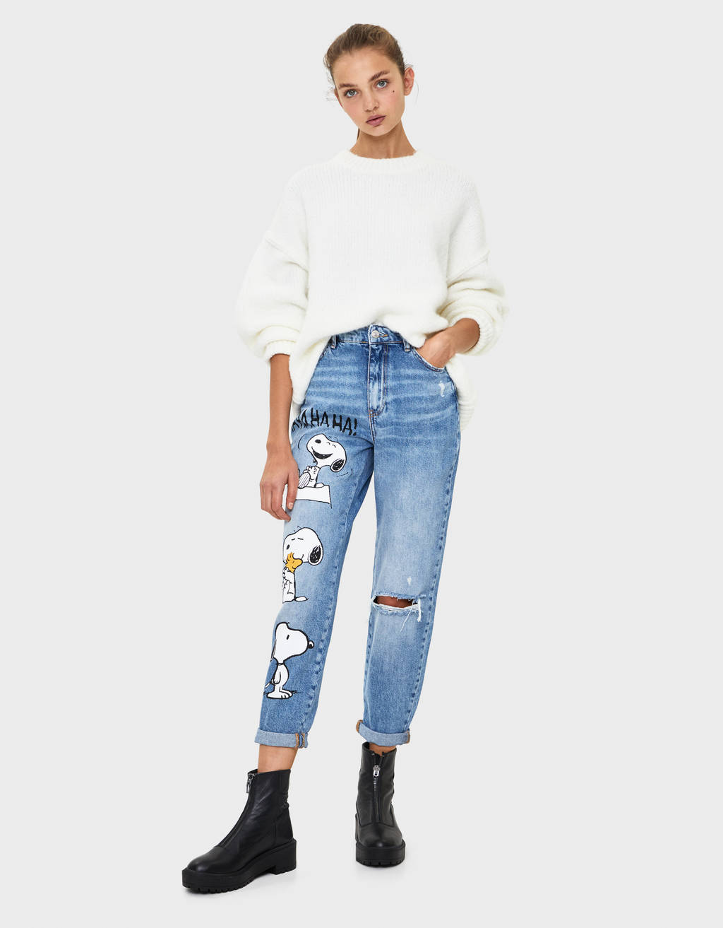 Jeans mom fit Snoopy