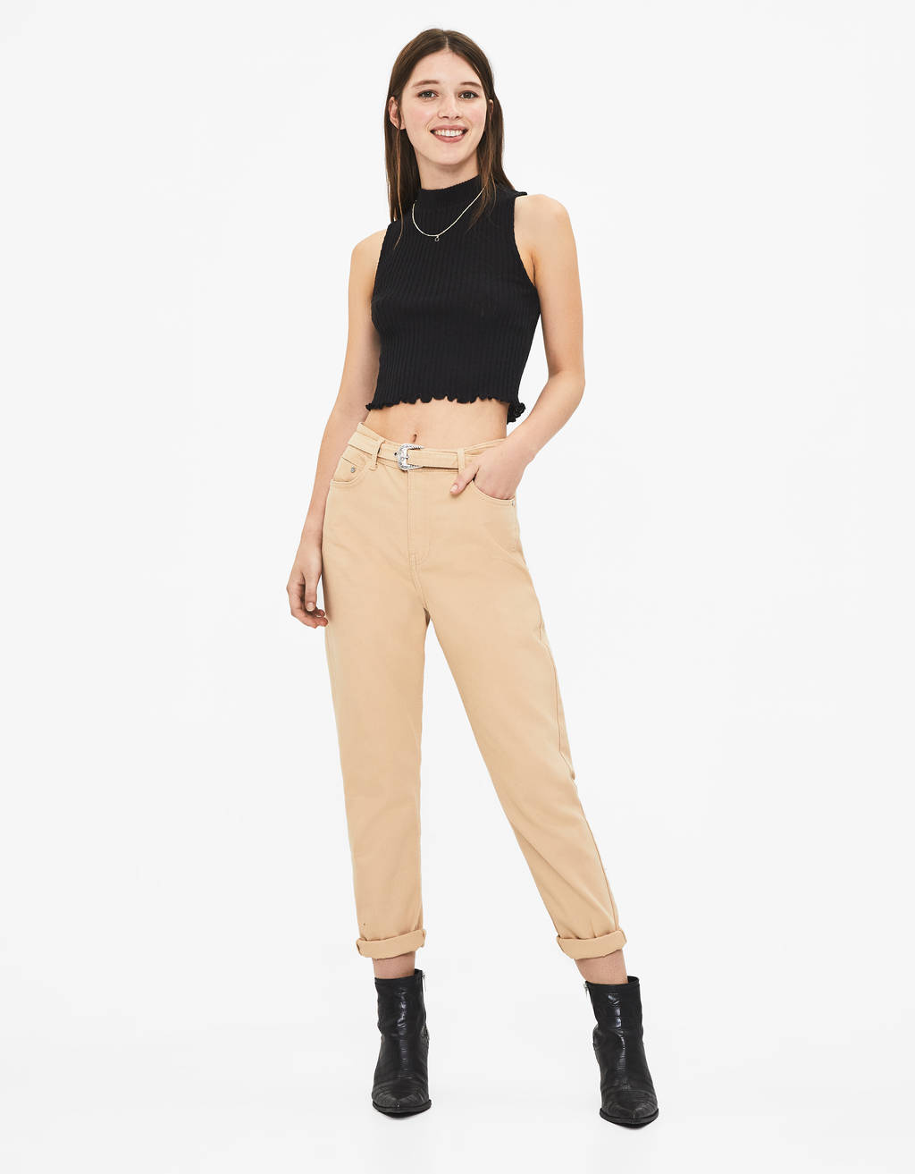 Mom fit trousers with belt