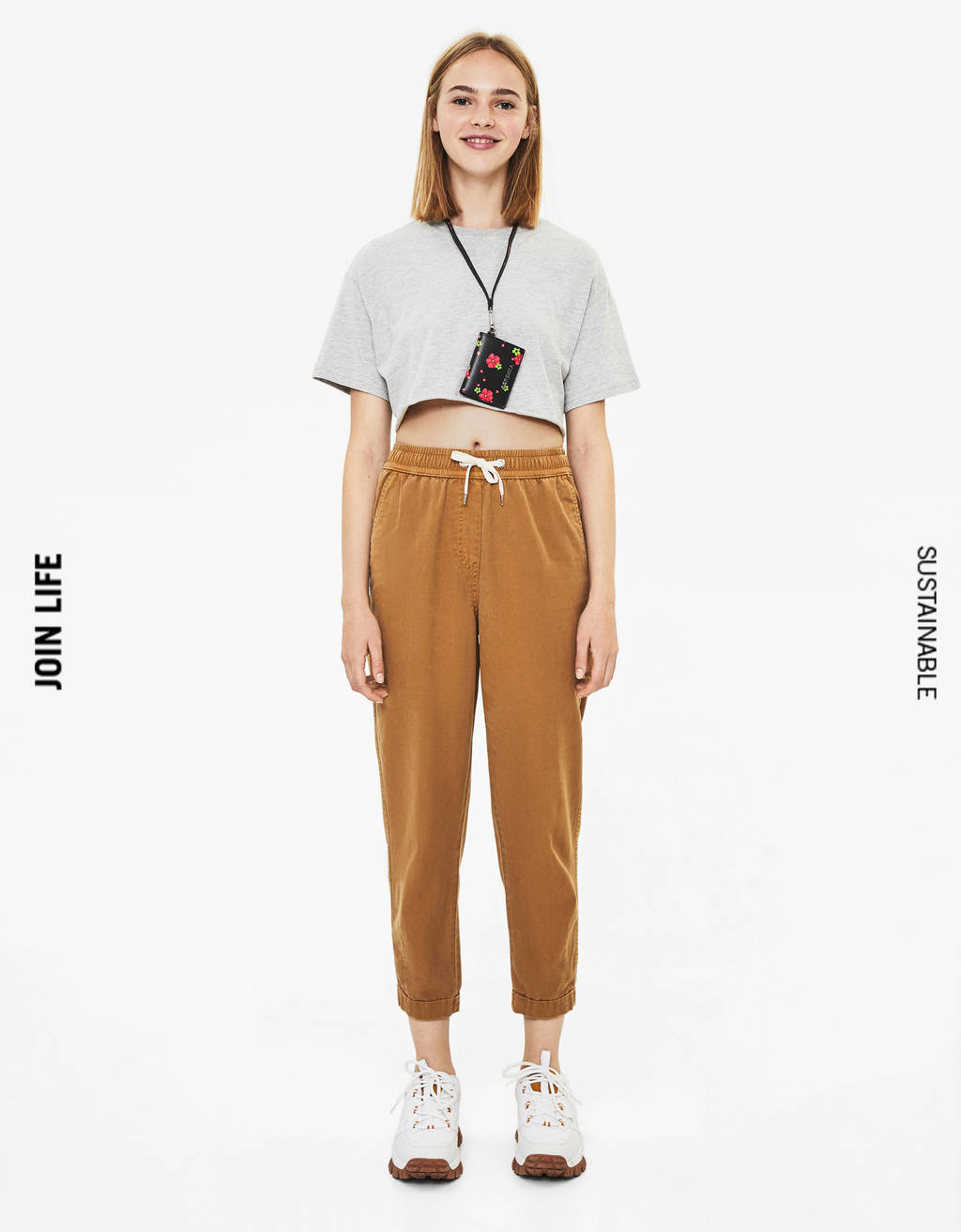 TENCEL® sweatpants with rolled-up hems