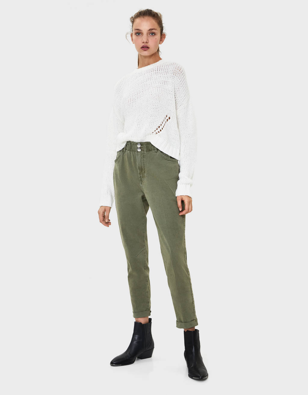 Trousers with elastic waistband