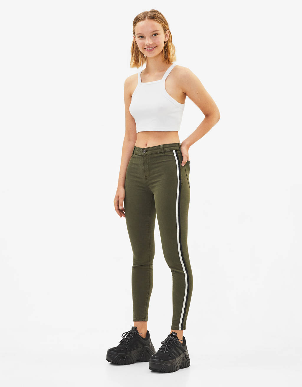 Mid waist pants with side stripes