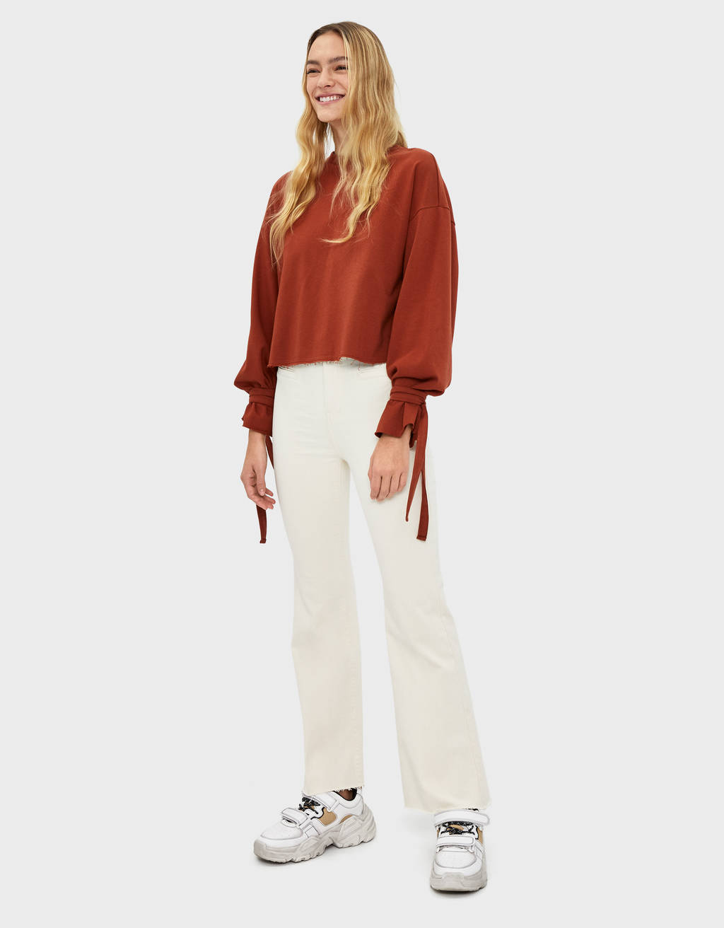 Twill flared trousers