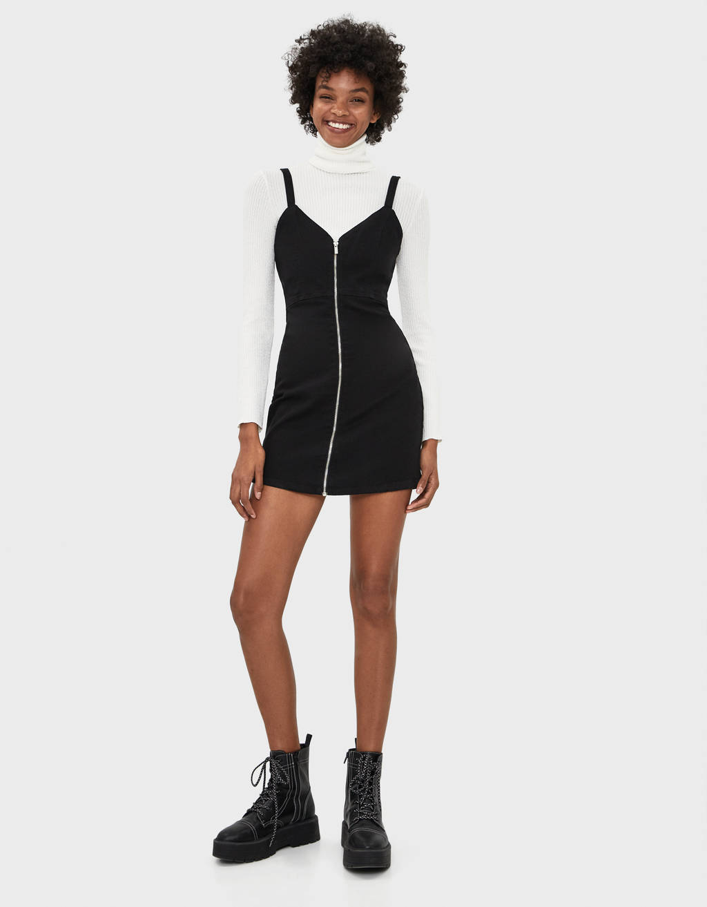 Dress with front zip