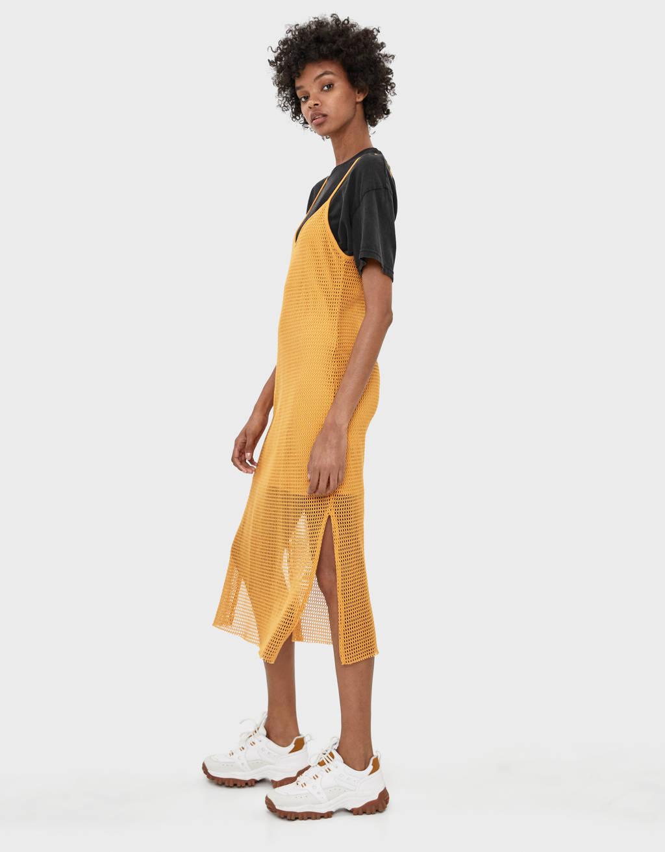 Midi-jurk van netstof