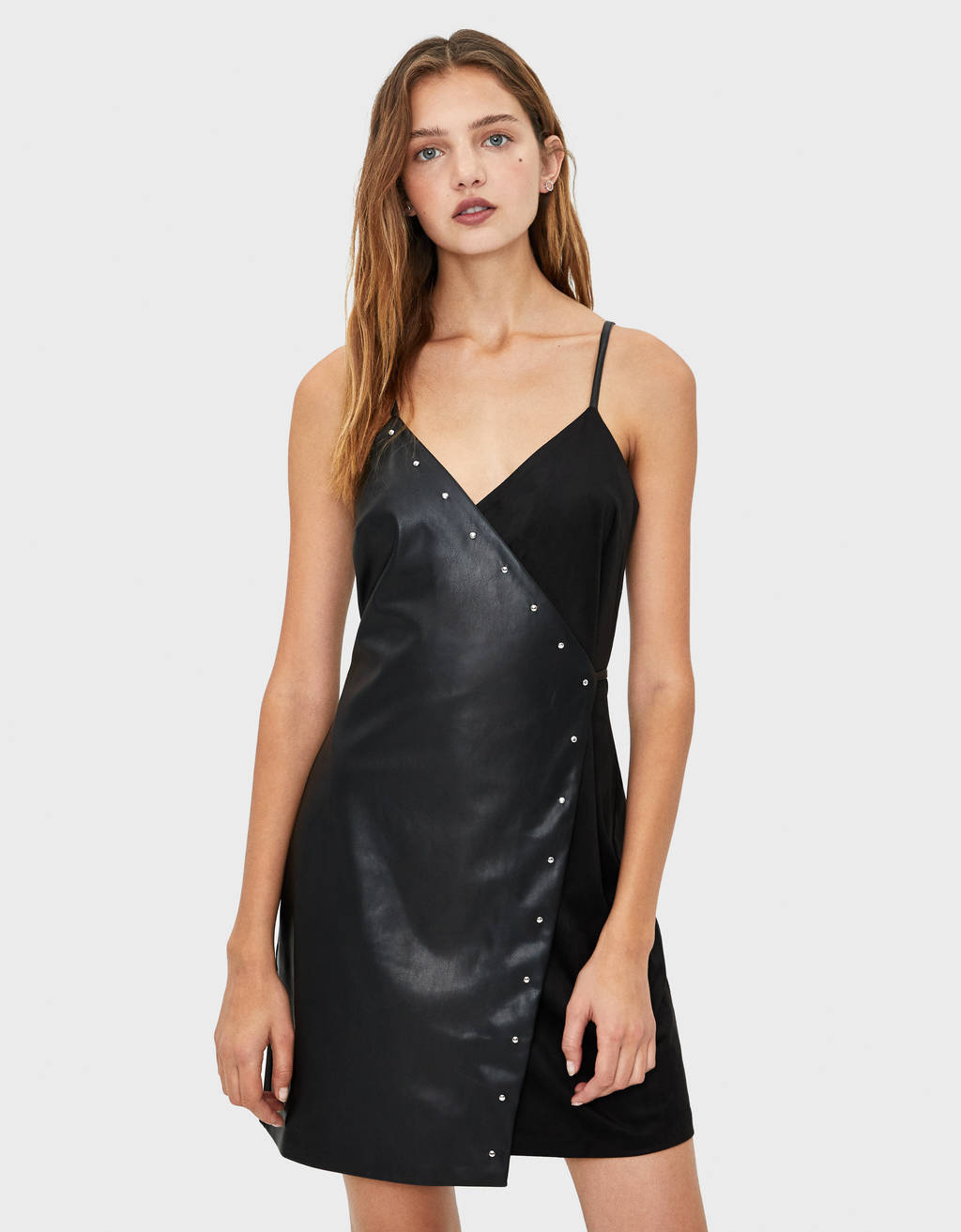 Faux leather dress with studs