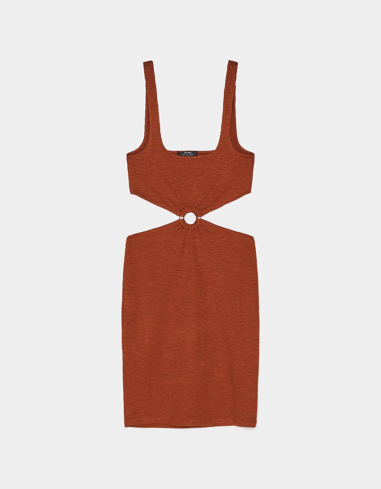 Платье с боковыми вырезами Κоричневый Bershka