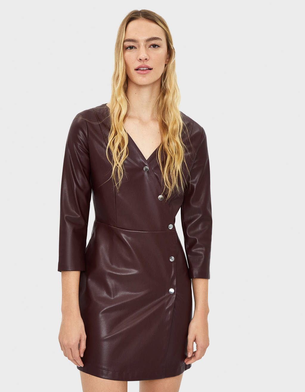 Faux leather dress with buttons