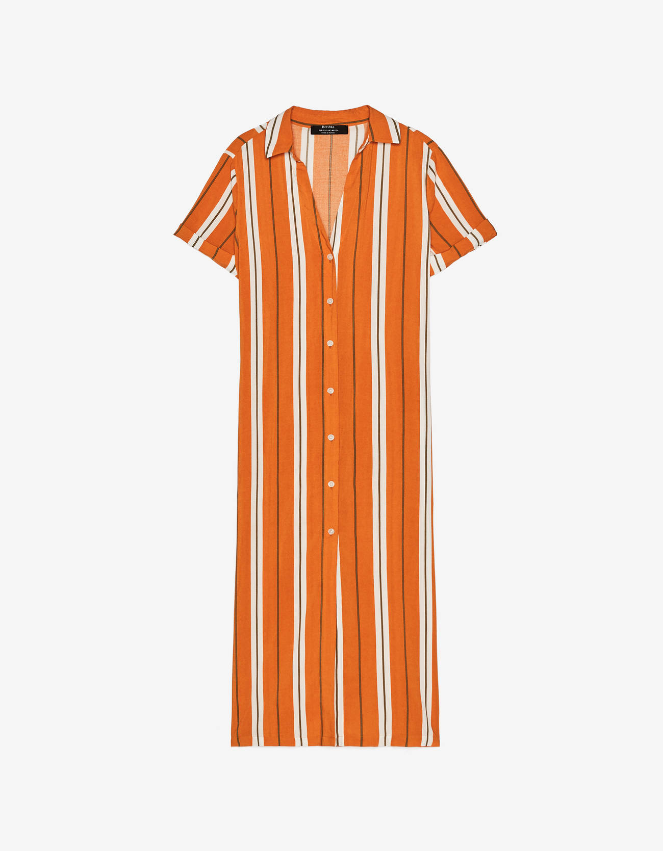 Платье-рубашка миди ОРАНЖЕВЫЙ Bershka